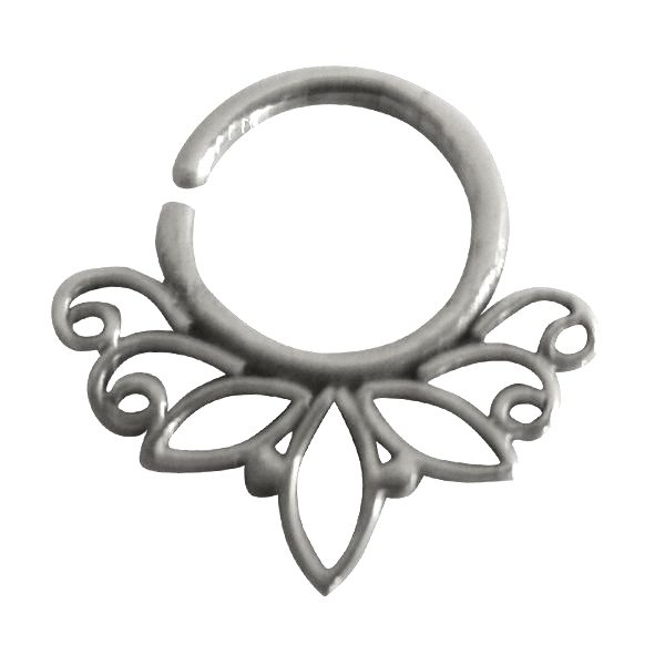 Lotus Septum Silver 92 5 Sterling Unique Nose Ring For Pierced