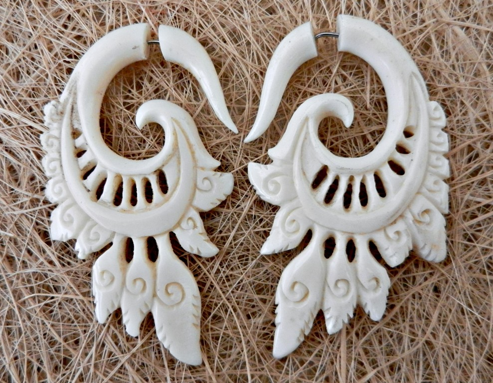 Split Hook Bone Earring Fake Ear Gauge Exotic Carved Handmade Cocoroots