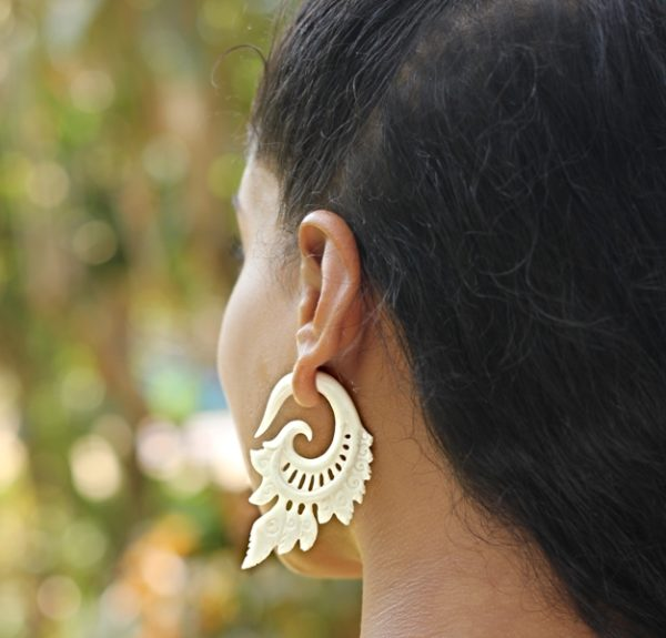 Split Hook Bone Earring Fake Ear Gauge Exotic Carved Handmade Cocoroots