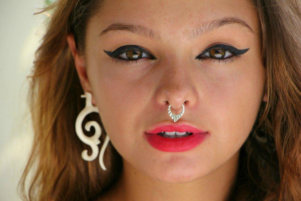 Pendant Septum Ring Silver Tribal Nose Ring