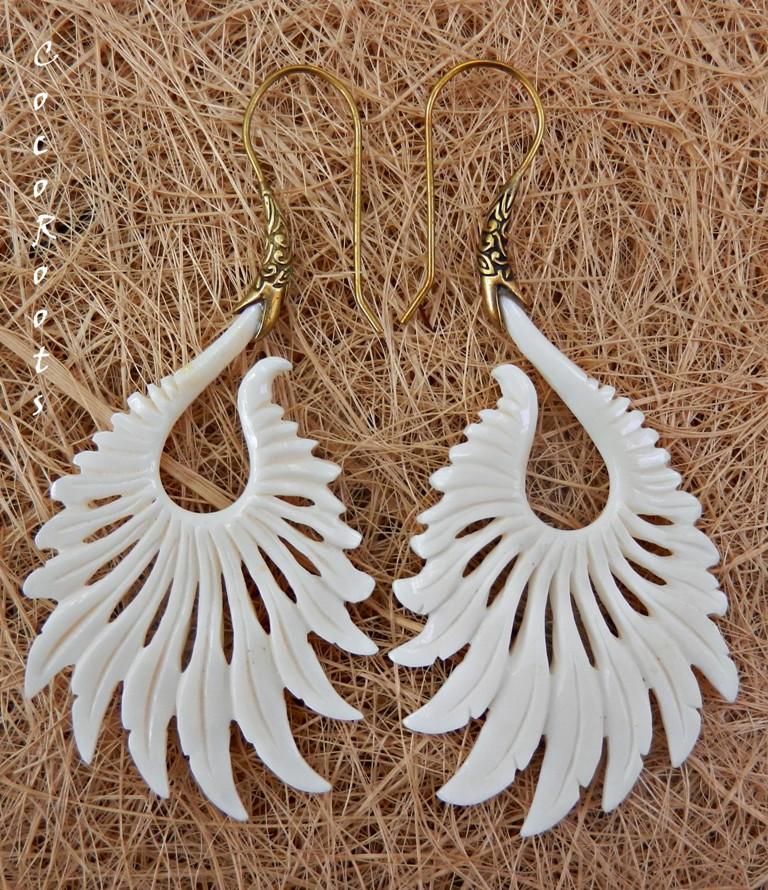 Tribal Earring Carved Bone Brass Hook Sun Ray Handmade Cocoroots