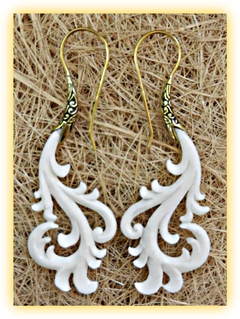 Dangle Bone Earring Carved Brass Hook Gypsy Curls Cocoroots