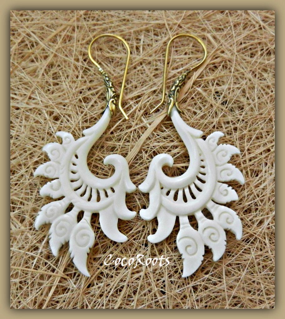 Tribal Earrings Unique Bone Carved Dangle Brass Hook Kali Cocoroots