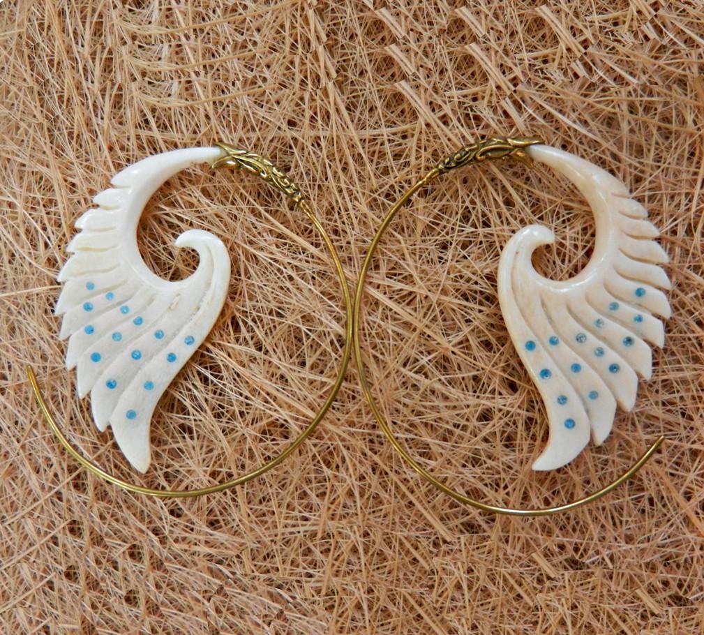 Angel Wings Earring Tribal Bone Handmade Brass Spiral Carved Hoops Cocoroots