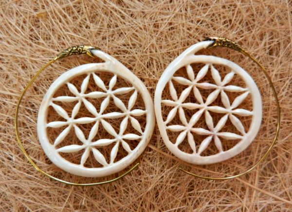 Flower Of Life Earrings Carved Tribal Bone Handmade Fashion Cocoroots